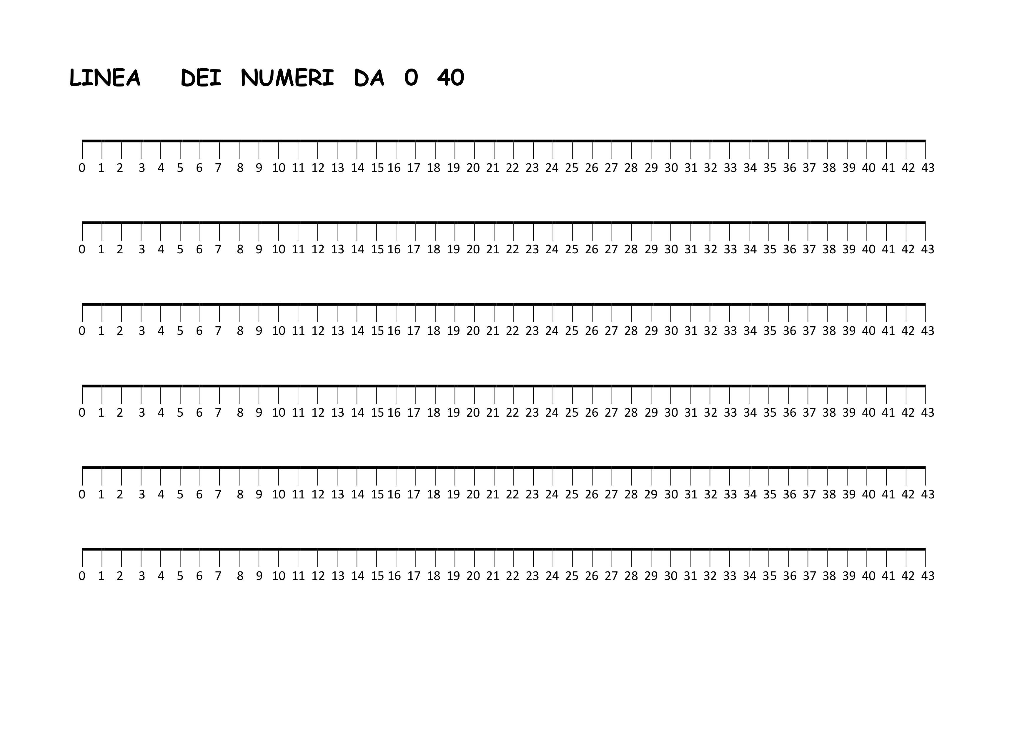 Linea dei numeri da 0 a 40 blog di maestra mile for Linea dei numeri da stampare