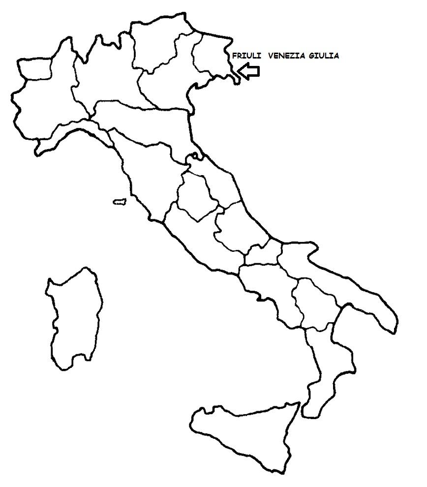 Cartina Italia Friuli Venezia Giulia.Friuli Venezia Giulia Cartina Politica Italia Con Singola