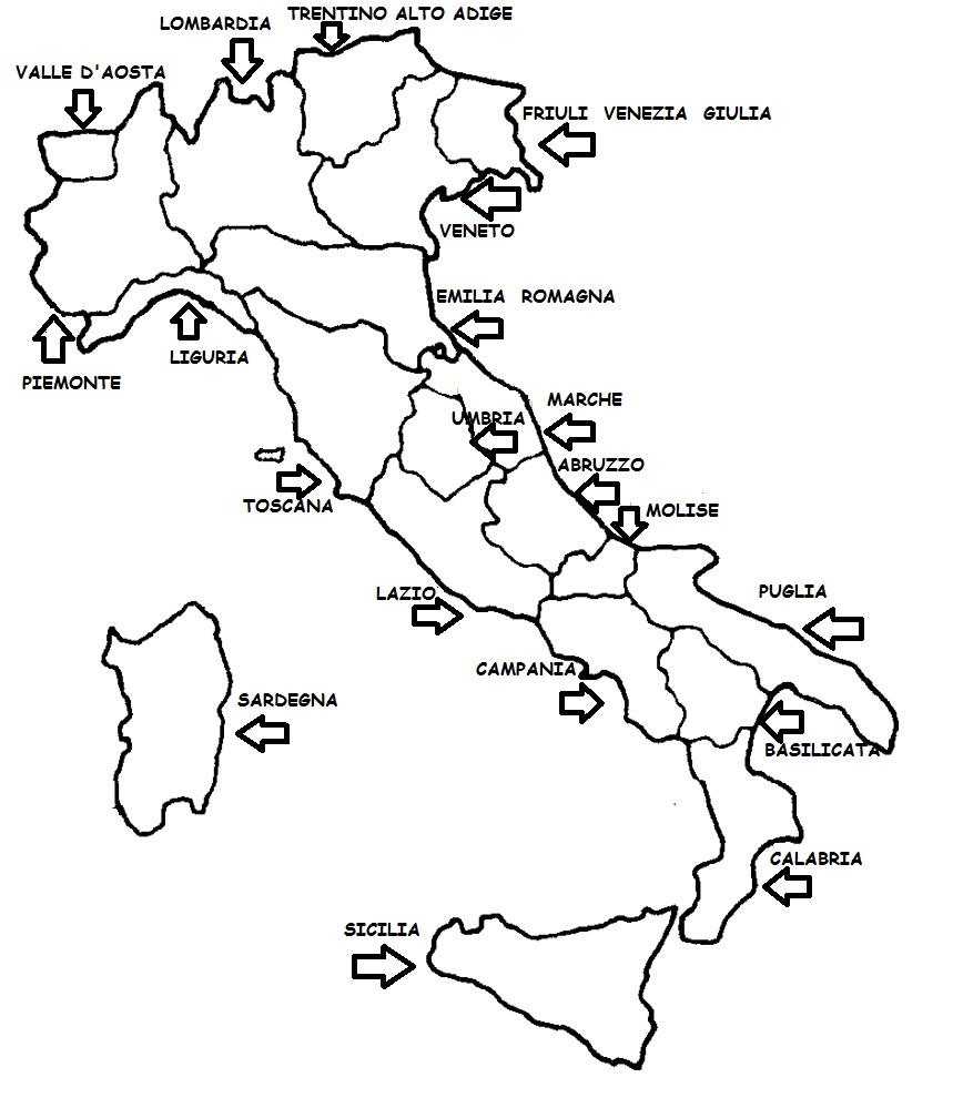 Cartina Italia Con Regioni Da Colorare.Italia Da Colorare Colorare Immagini