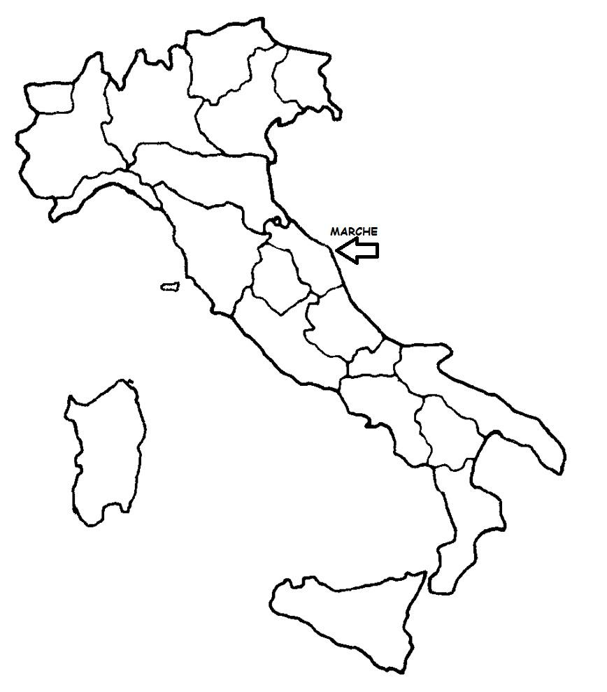 Le Marche Cartina Politica.Marche Cartina Politica Italia Con Singola Regione Evidenziata Blog Di Maestra Mile