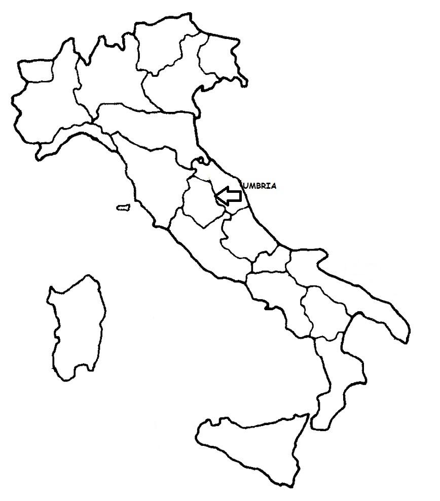 Cartina Italia Politica Umbria.Umbria Cartina Politica Italia Con Singola Regione Evidenziata Blog Di Maestra Mile