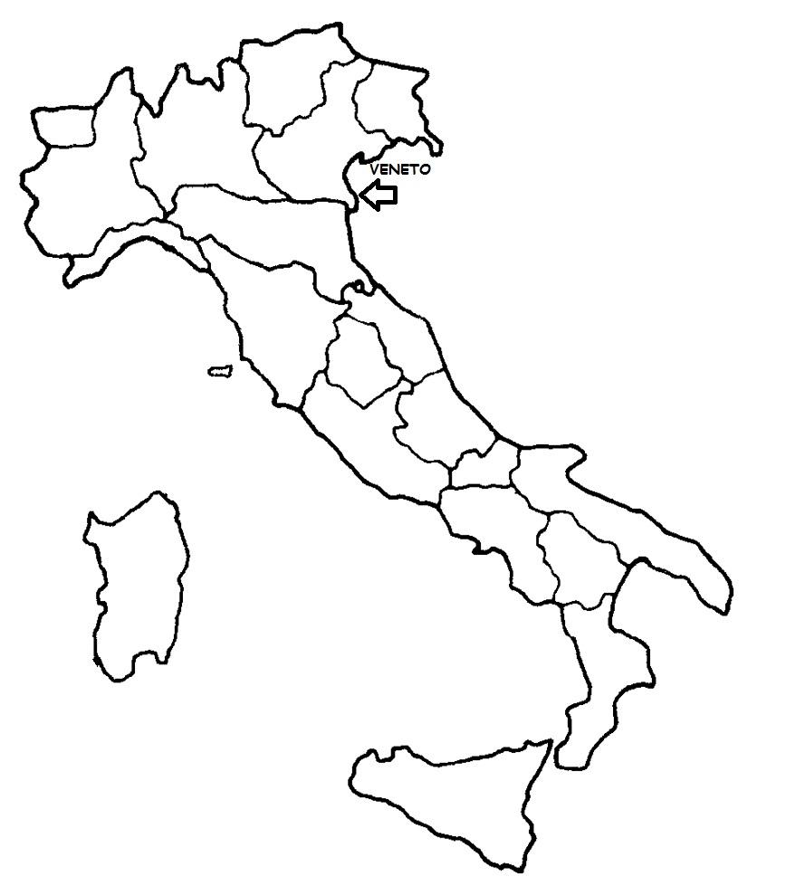 Cartina Italia Politica Veneto.Veneto Cartina Politica Italia Con Singola Regione Evidenziata Blog Di Maestra Mile
