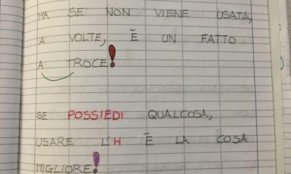 """Quaderno di italiano classe II """"Uso dell'H"""""""