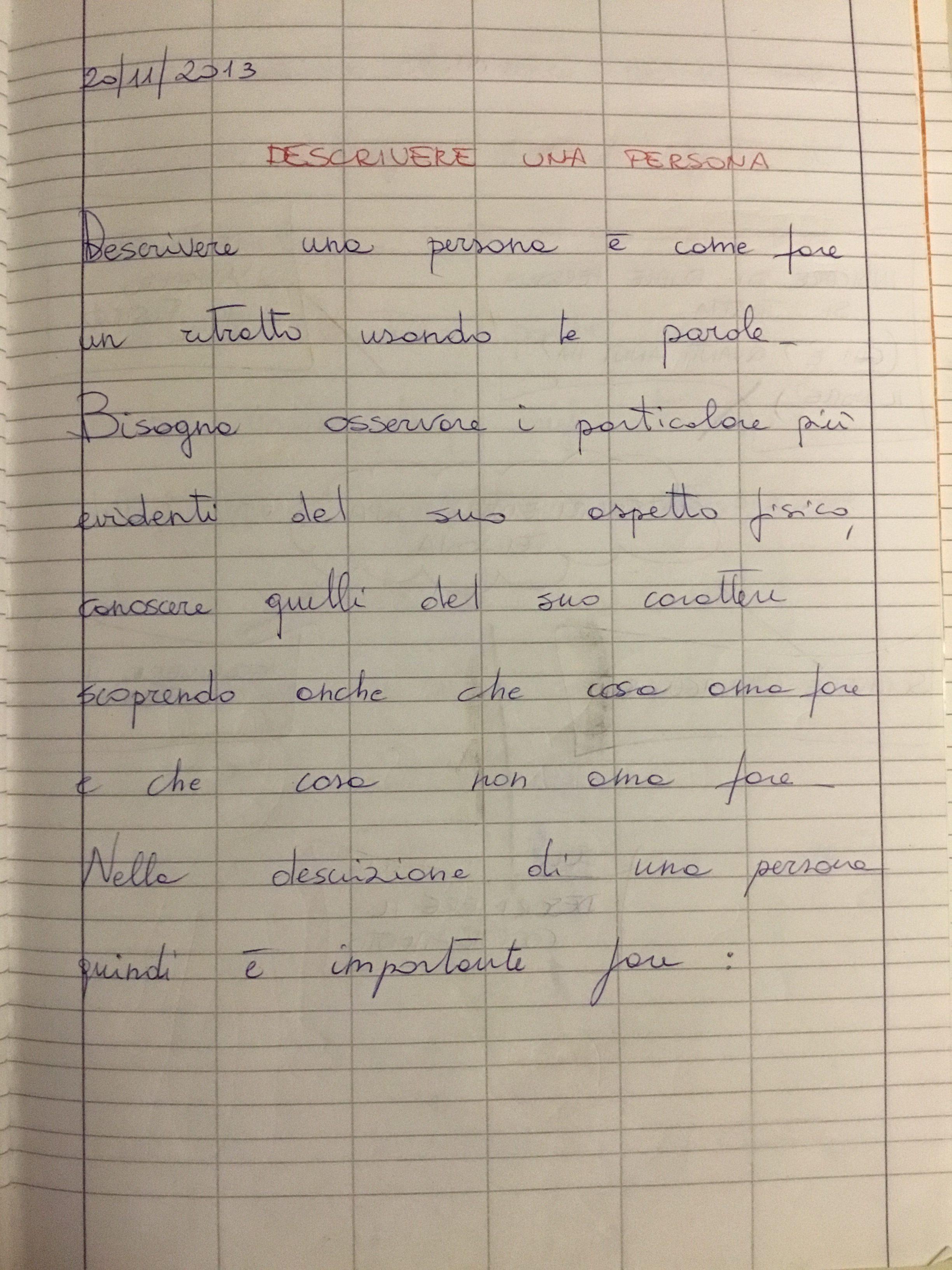 Quaderno Di Italiano Classe 3 Descrivere Una Persona Blog Di Maestra Mile