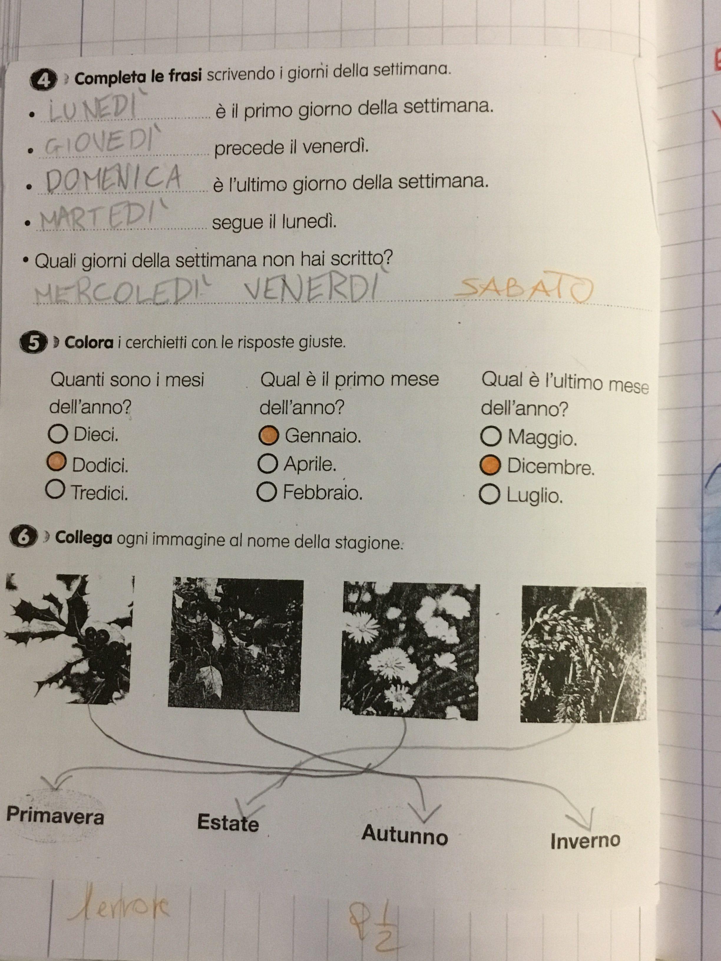 Quaderno Di Storia Classe 1i Mesi Dellanno 7 Blog Di Maestra