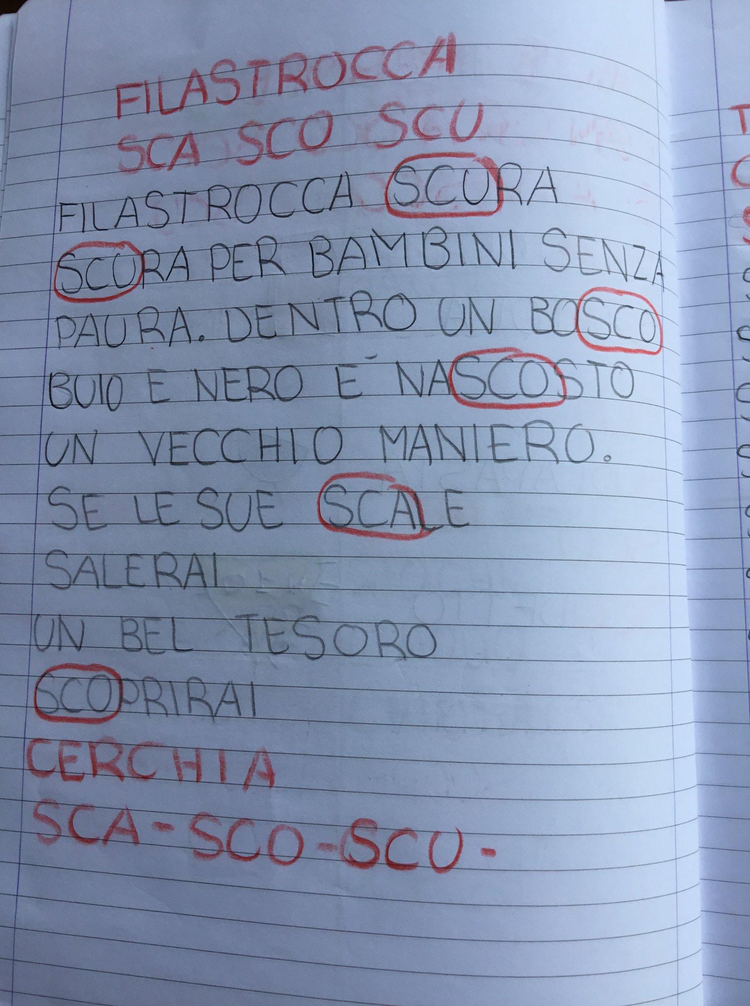Italiano classe 1 sca sco scu sci sce blog di for Dettato con sca sco scu