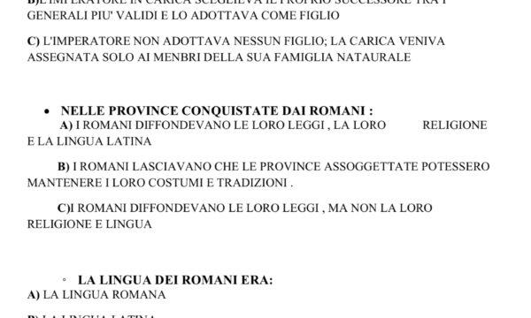 VERIFICA ROMANI (II° PARTE)